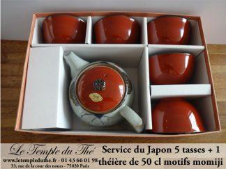Service japonais 1 théière et 5 tasses Fleurs de Momoji