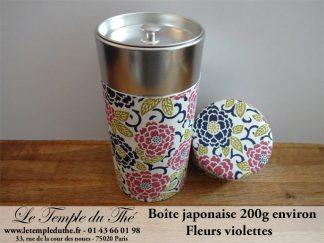 Boîte à thé japonaise 200g fleurs violettes