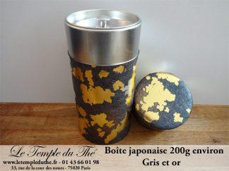 Boîte à thé japonaise 200g papier gris et or