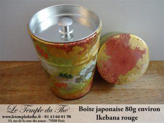 Boîte à thé japonaise 80g Ikebana rouge