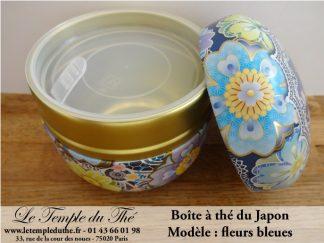 Boîte à thé japonaise fleurs bleues