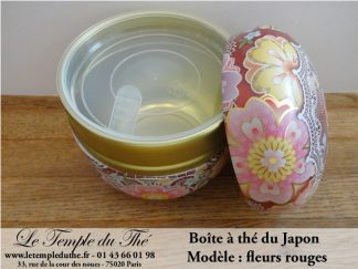 Boîte à thé japonaise fleurs rouges