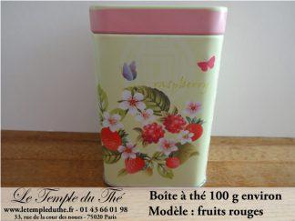 Boîte à thé 100 g environ modèle fruits rouges