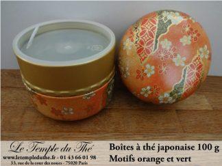 Boîte à thé japonaise Nagano 100 g motifs orange et vert