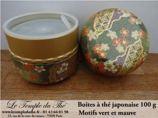Boîte à thé japonaise Nagano 100 g motifs vert et mauve
