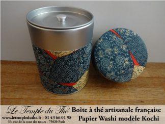 Boîte à thé artisanale française papier Washi modèle Kochi