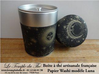 Boîte à thé artisanale française papier Washi modèle Luna