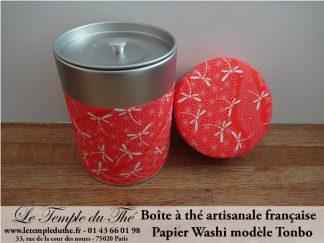 Boîte à thé artisanale française. Washi. Tonbo