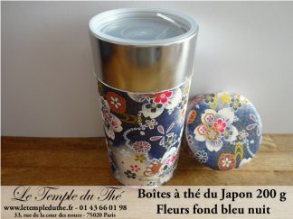 Boîte japonaise 200 g fleurs fond bleu nuit