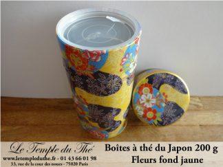Boîte à thé japonaise laquée fleurs