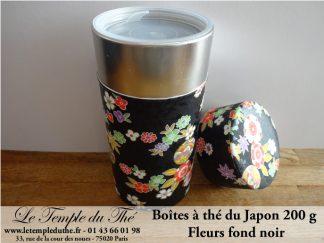 Boîte japonaise 200 g fleurs fond noir