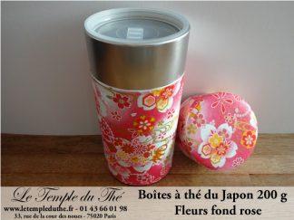 Boîte à thé japonaise fleurs fond rose