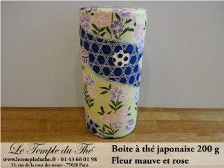 Boîte à thé japonaise 200g fleur mauve et rose