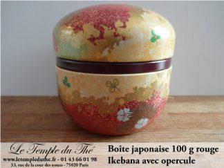 Boîte à thé japonaise 100 g Ikebana rouge