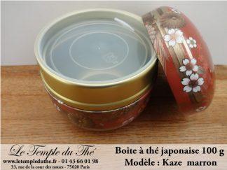 Boîte à thé japonaise 100g modèle Kaze marron