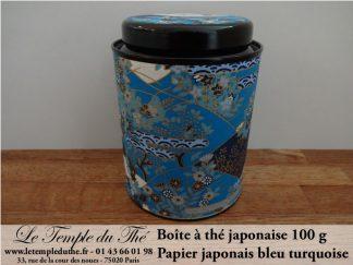 Boîte à thé japonaise Kyoto 100 g bleu turquoise