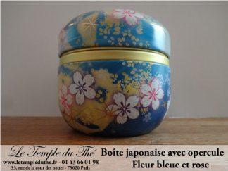 Boîte à thé japonaise 100 g fleur rose et bleue