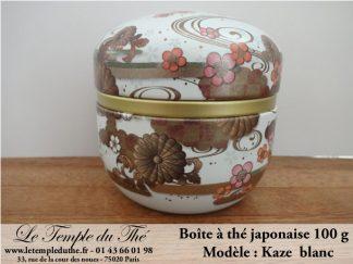Boîte à thé japonaise 100g modèle Kaze blanc