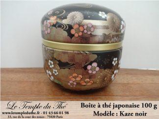 Boîte à thé japonaise 100g modèle Kaze noir