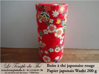 Boîte à thé japonaise 200g rouge papier Washi