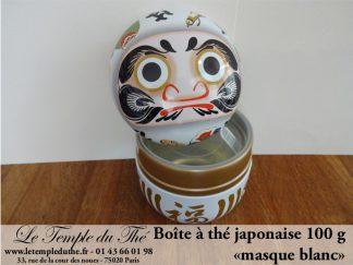 Boîte à thé japonaise 100 g ronde Daruma blanc