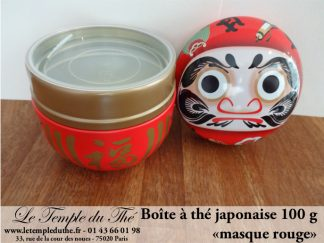 Boîte à thé japonaise 100 g ronde Daruma rouge