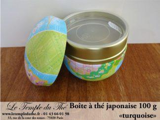 """Boîte à thé japonaise 100 g ronde """"turquoise"""""""