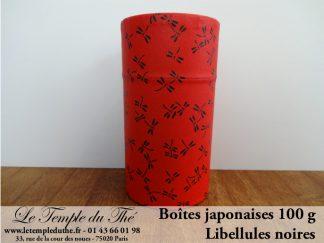 Boîte à thé japonaise libellules noires 100 g