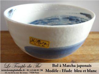 Bol à Matcha japonais bleu et blanc Efude