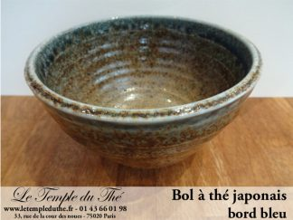 Bol à thé japonais en céramique bord bleu