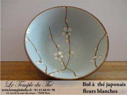 Bol à thé du Japon fleurs blanches