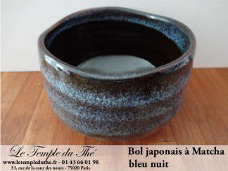 Bol japonais à Matcha bleu nuit pour la cérémonie du thé