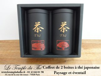 Coffret 2 boîtes japonaises éventail et paysage