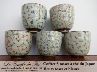 Coffret de 5 tasses japonaises 10 cl fleurs roses et bleues