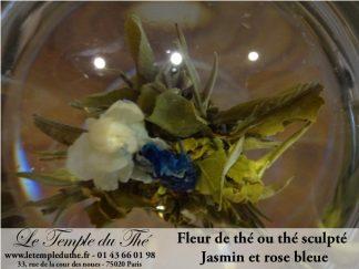 Fleur de thé ou thé sculpté jasmin et rose bleue