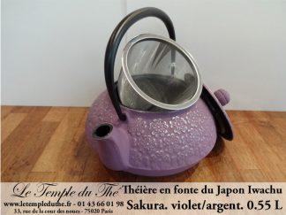 Théière en fonte du Japon IWACHU modèle Sakura violet argenté 0.55 L