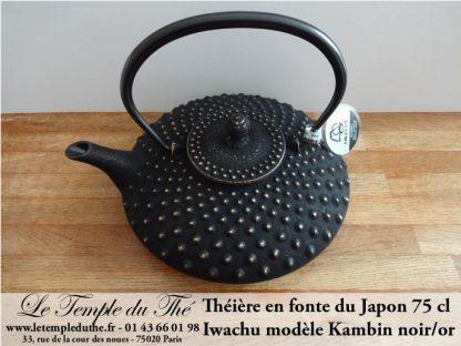 Théière en fonte du Japon IWACHU Kambin noir/or
