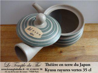 Kyusu en terre du Japon 35 cl rayures vertes