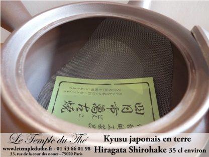 Kyusu en terre 35 cl Hiragata Shirohake