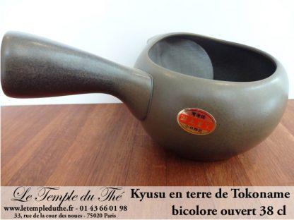 TOKONAME poterie Théière japonaise kyusu ouvert bicolore 38 cl