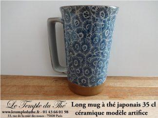 Long mug à thé japonais en céramique modèle artifice 35 cl