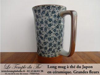 Long mug en céramique du Japon 35 cl grandes fleurs
