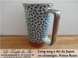 Long mug japonais en céramique 35 cl petites fleurs