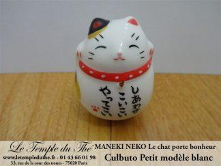 Maneki-Neko Le chat porte bonheur petit culbuto blanc