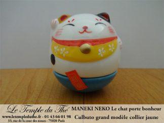 Maneki-Neko Le chat porte bonheur culbuto collier jaune