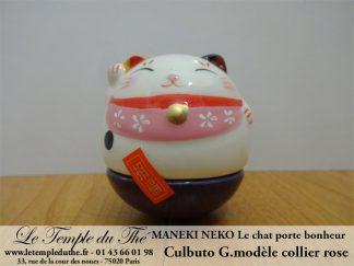 Maneki-Neko Le chat porte bonheur culbuto collier rose