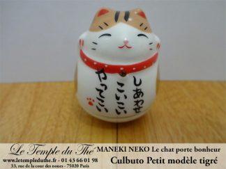 Maneki-Neko Le chat porte bonheur petit culbuto tigré