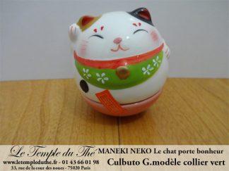Maneki-Neko Le chat porte bonheur culbuto collier vert