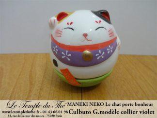 Maneki-Neko Le chat porte bonheur culbuto collier violet