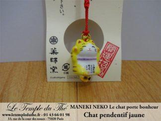 Maneki-Neko Le chat porte bonheur pendentif jaune